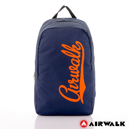 AIRWALK - 快樂曲線 撞色LOGO後背包 - 桔字深藍