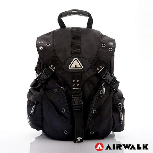 AIRWALK - 美式潮流三叉扣尼龍大後背包 - 時尚銀
