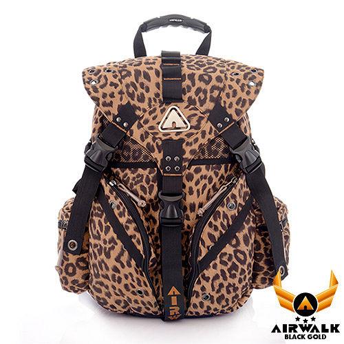 AIRWALK - 黑金系列 限定花豹色三叉後背大包 - 叢林咖