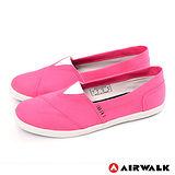 AIRWALK(女) - 帆布鞋 甜姐兒V領 斜紋拼布 輕柔純棉帆布鞋 - 桃紅