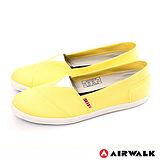 AIRWALK(女) - 帆布鞋 甜姐兒V領 斜紋拼布 輕柔純棉帆布鞋 - 淺黃