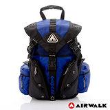 AIRWALK - 鐵金鋼 雙色重裝備感三叉釦後背包 - 黑藍