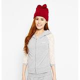 TOP GIRL拼接蕾絲連帽棉針織外套-女(淺麻灰)