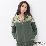 【TOP GIRL】圖騰提花拼接連帽外套 (深墨綠)