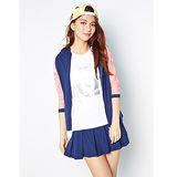 TOP GIRL拼接蕾絲連帽棉針織外套-女(丈青藍)