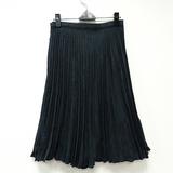 【portcros】蕾絲滾邊素面百褶裙-藍綠/L