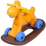 寶貝樂 可愛小馬學步車/助步車附搖搖板-橘色