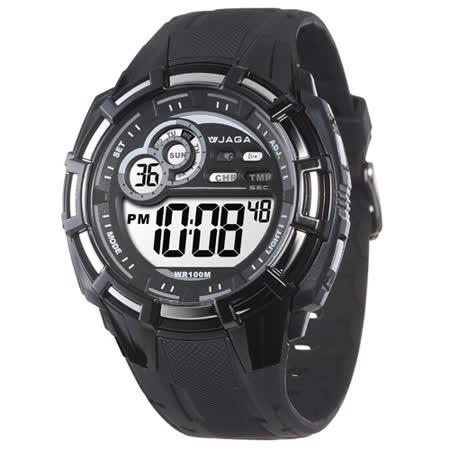 捷卡 JAGA 多功能冷光電子腕錶 黑x灰 男錶 運動錶 學生錶 軍錶 電子錶 防水手錶 M997-AC(黑灰)