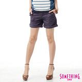 SOMETHING 袋蓋大口袋休閒短褲-女-紫色