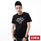 EDWIN 飛行LOGO植絨短袖T恤-男-黑色