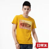 EDWIN 街景貼布短袖T恤-男-黃色