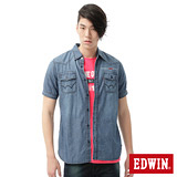 EDWIN 雙口袋繡字牛仔襯衫-男-石洗藍