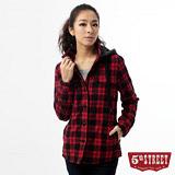 5th STREET 格紋舖棉襯衫式外套-女-紅色