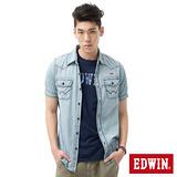 EDWIN 雙口袋繡字牛仔襯衫-男-重漂藍 L