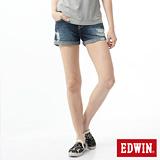 EDWIN MISS503磨破牛仔短褲-女-原磨藍