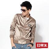 EDWIN 科技光感-皺摺布徽章夾克-男款(褐色)