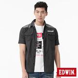 EDWIN 剪接細格短袖襯衫-男-黑色