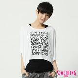 SOMETHING 文字印花寬版短袖T恤-女-白色