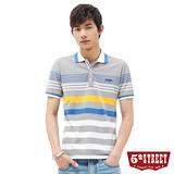 5th STREET 變化條紋POLO衫-男-銀灰色