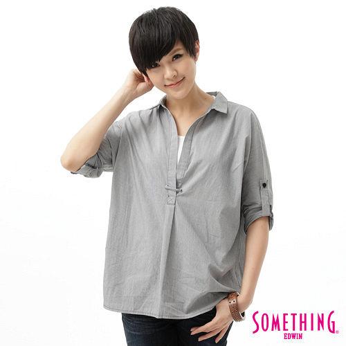 SOMETHING 細條平織襯衫-女-黑色