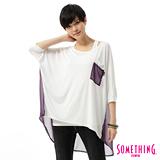 SOMETHING 雪紡剪接T恤-女-白色