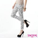 SOMETHING LADIVA印花合身牛仔褲-女-白色