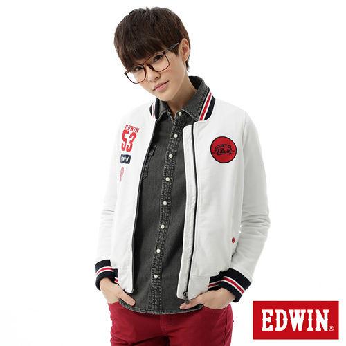 EDWIN 復古繡花棒球外套-女-白色