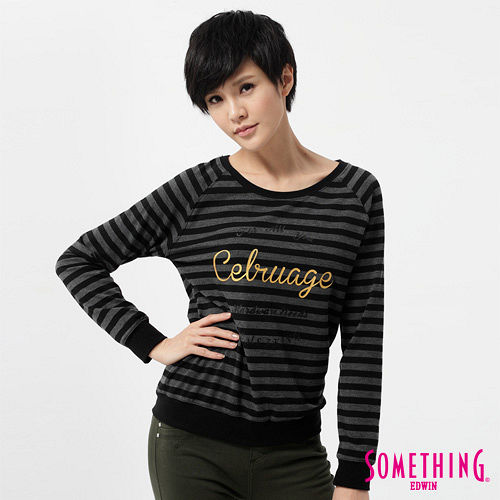 SOMETHING T恤 燙金條紋圓領長袖T恤-女-黑色