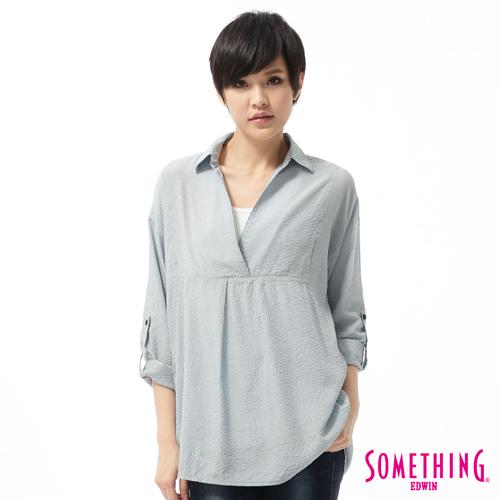 SOMETHING V領後開襟長版襯衫-女-藍色
