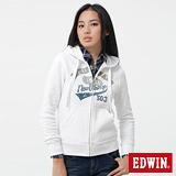 EDWIN 連帽外套 LOGO貼布繡拉T-女-白色