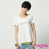SOMETHING 浪漫剪接長版T恤-女-白色