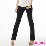 SOMETHING V圓織剪接靴型牛仔褲-女-原藍色