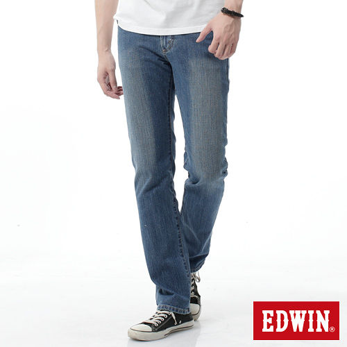 EDWIN 基本五袋直筒牛仔褲-男-漂淺藍
