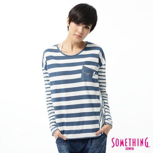 SOMETHING 休閒拼接寬條紋T恤-女-漂淺藍