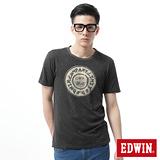 EDWIN 麻花紗手繪釦印花T恤-男-黑灰色