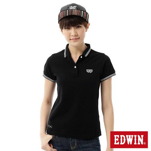 EDWIN 簡潔都會短袖POLO衫-女-黑色