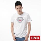 EDWIN 飛行LOGO植絨短袖T恤-男-白色