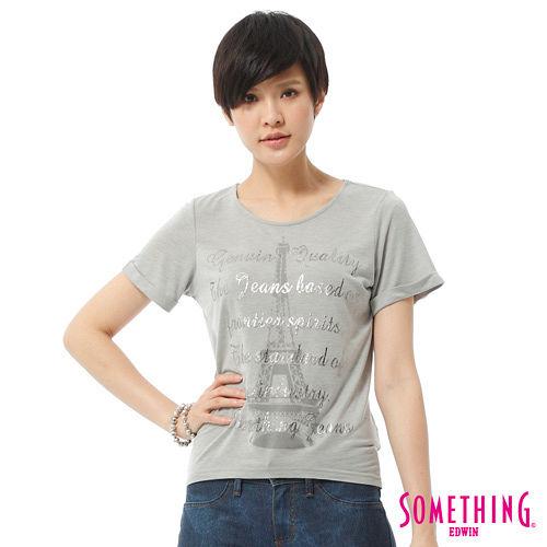 SOMETHING 立體印花T恤-女-麻灰色