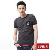 EDWIN 窄版修身細條短袖T恤-男-暗灰