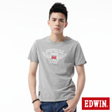 EDWIN 飛行LOGO植絨短袖T恤-男-麻灰