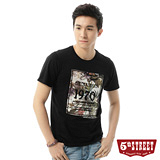 5th STREET 熱帶植物印花T恤-男-黑色