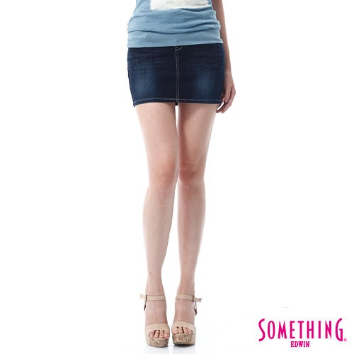 SOMETHING NEO基本短裙-女-酵洗藍