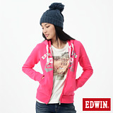 EDWIN 連帽外套 LOGO貼布繡拉T-女-桃紅色