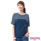 SOMETHING INDIGO拼接寬版T恤-女-拔淺藍