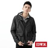 EDWIN 拼接單層風衣外套-男-黑色