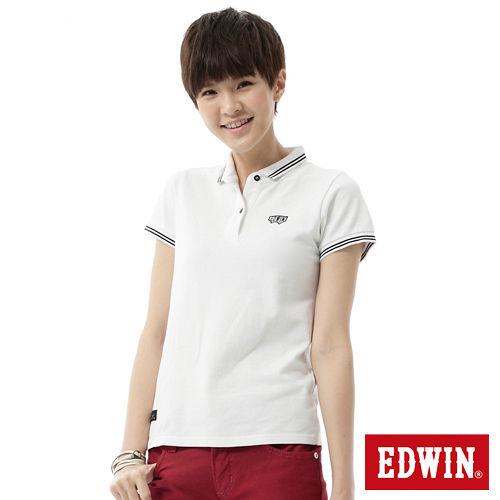 EDWIN 簡潔都會短袖POLO衫-女-白色