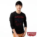 5th STREET T恤 美式圖騰印花長袖T恤-男-黑色