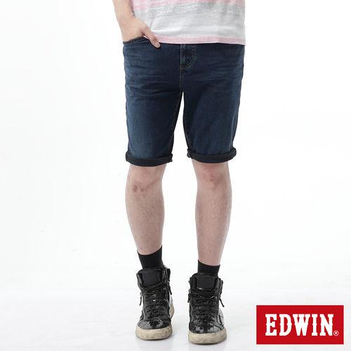 EDWIN 大尺碼 迦績褲JERSEYS黑腰頭短褲-男-酵洗藍