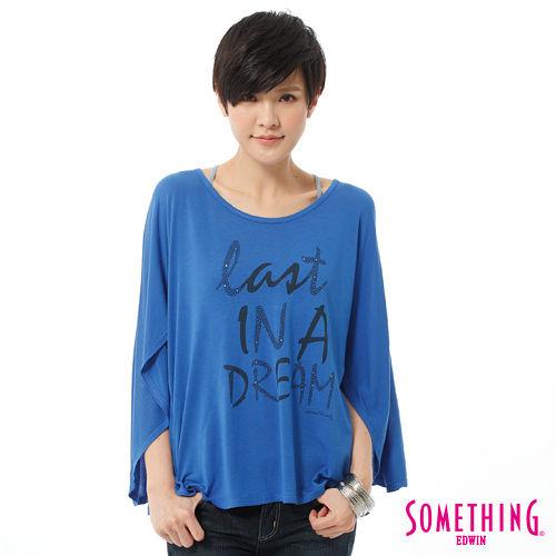 SOMETHING 網路限定 斗篷式垂墜T恤-女-藍色