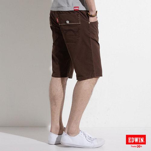 EDWIN B.T 麂皮拼接短褲-男-咖啡色